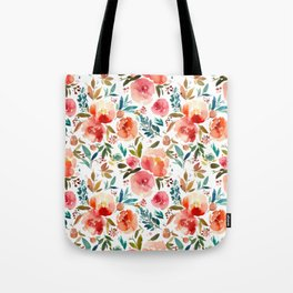 Red Turquoise Teal Floral Watercolor Tote Bag