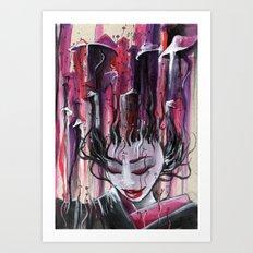 Geisha in Mushrooms: The Surrealistic Concubine Art Print
