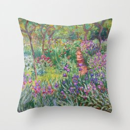 The Iris Garden at Giverny by Claude Monet Throw Pillow