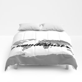 Wanderlust Black and White Map Comforters