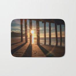 Through the Blinds sun bursts through Avila Pier Avila Beach California Bath Mat
