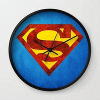 superman Wall Clocks featuring Superman by S.Levis
