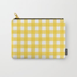 White & Yellow Gingham Pattern Carry-All Pouch