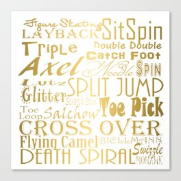 Figure Skating Subway Style Typographic Design Gold Foil Canvas Print
