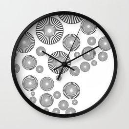 Space Spirals grey white Wall Clock