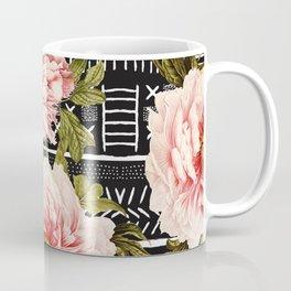 Flowering pink on drawn lines Coffee Mug