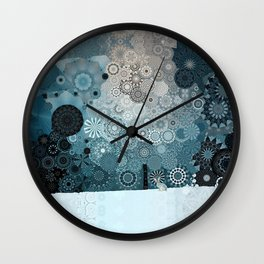 Fancy Snow: White Hare In A Snow Storm Wall Clock