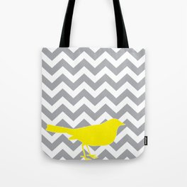 Yellow Bird on Gray Chevron Tote Bag