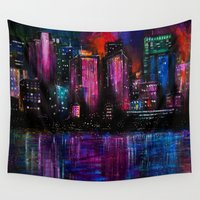 cityscape Wall Tapestries featuring Cityscape by Brittany Burkard
