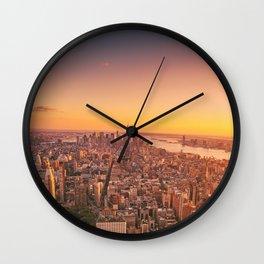 New York City Sunset Skyline Wall Clock