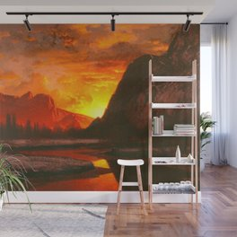 Classical Masterpiece 'Sunset in the Yosemite Valley' by Albert Bierstadt Wall Mural