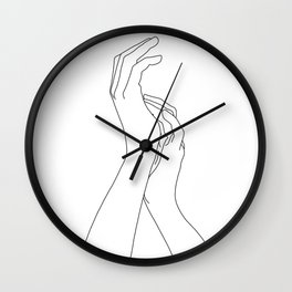 Hands line drawing illustration - Carly Wall Clock