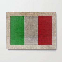 Vintage Italian Flag on Antique Burlap Texture Metal Print