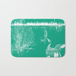 Oriental Exotic Heron & Boirds on a Lake Print - Emerald Green Bath Mat