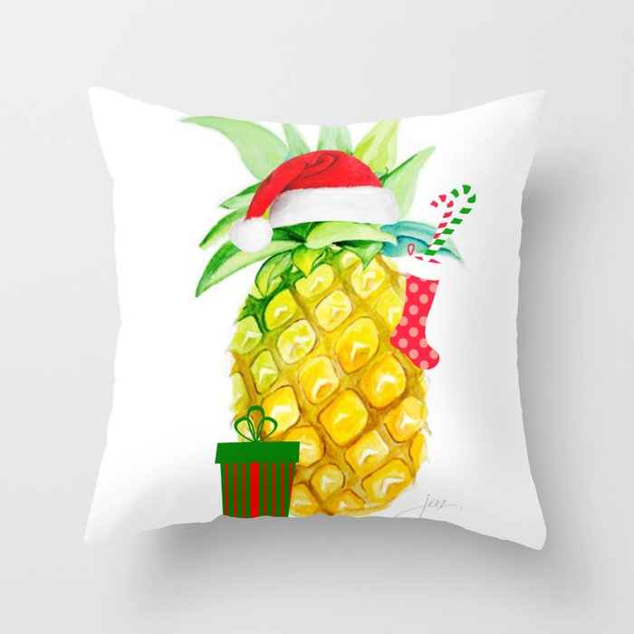 holiday pineapples Throw Pillow