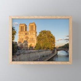 Notre Dame de Paris at Golden Hour Framed Mini Art Print