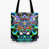 hindu Tote Bags featuring Shiva (Hindu) by Jim Pavelle