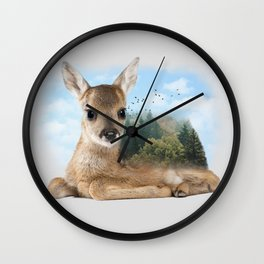 Baby Roe Deer Wall Clock