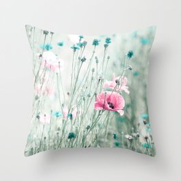 Pink Mint Aqua Teal Turquoise Floral Photography, Girls Room Nursery Feminine, Spring Nature Photo Throw Pillow