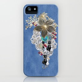 Costume jewelry, Ivory Pearls and White Lace on Blue Denim Texture iPhone Case