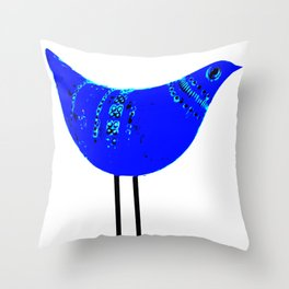 Mid Century Modern Ceramics Classic Blue Bitossi Bird Poster Print Throw Pillow