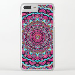 Pink and blue hearts mandala Clear iPhone Case