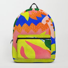 Bold Flowers on Blue Backpack