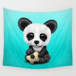 Cute Baby Panda With Football Soccer Ball Wall Tapestry