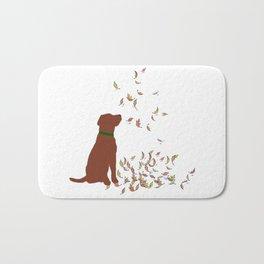 Brown Dog in Fall Leaves Bath Mat