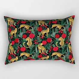 Leopard Leaves and Roses Rectangular Pillow