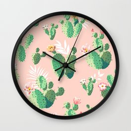 Vintage Cactus Pattern Wall Clock