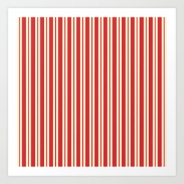 Double Stripes - Classic Stripe Pattern in Cream and Retro Christmas Red Art Print