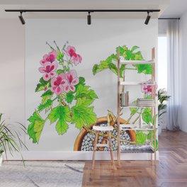 Pink Geraniums Wall Mural