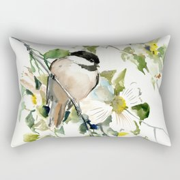 chickadee and dogwood, chickadee art design floral Rectangular Pillow