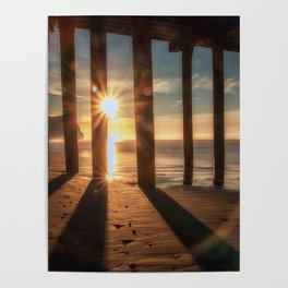 Through the Blinds sun bursts through Avila Pier Avila Beach California Poster