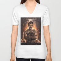actor V-neck T-shirts featuring Ron ****ing Swanson by Sam Spratt