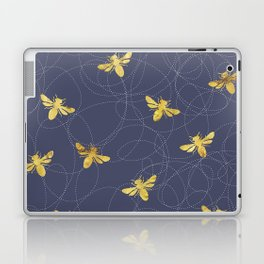 Flying Gold Bees On A Dark Blue Background Laptop & iPad Skin