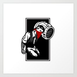 Thief illustration with wine cask Art Print