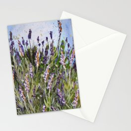 LAVENDER SPLASHES - Original abstract floral painting by HSIN LIN / HSIN LIN ART Stationery Cards