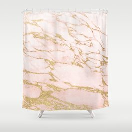 Blush pink abstract gold glitter marble Shower Curtain