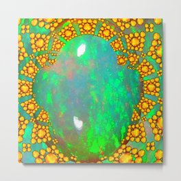 OCTOBER BIRTHSTONE GREEN FIRE OPAL & GOLD DESIGN Metal Print