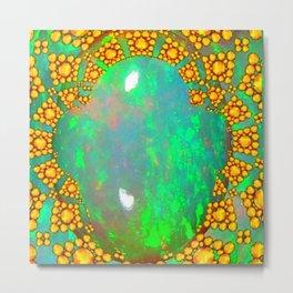 OCTOBER BIRTHSTONE GREEN FIRE OPAL & GOLD DESIGN Metal Print
