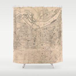 Vintage Map of Louisville Kentucky (1873) Shower Curtain