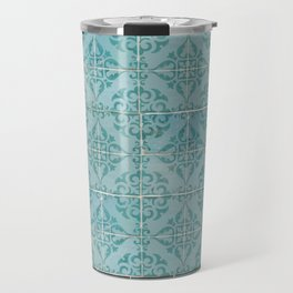 Victorian Turquoise Ceramic Tiles Travel Mug