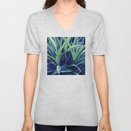 Exotic, Lush Blue and Green Leaves Unisex V-Neck