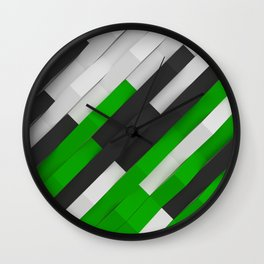 White, black and green plastic waves Wall Clock