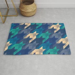Origami houndstooth blues Rug