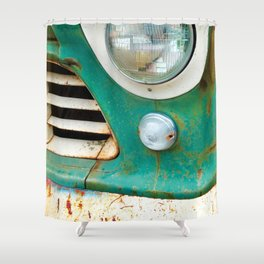 Rusty Turquoise Car Shower Curtain