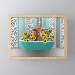 bathtub with Highland cow and sunflowers Framed Mini Art Print