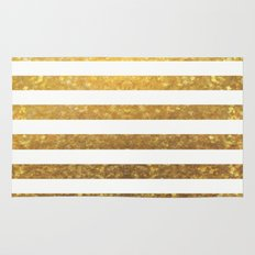 White and Gold Stripes  Rug